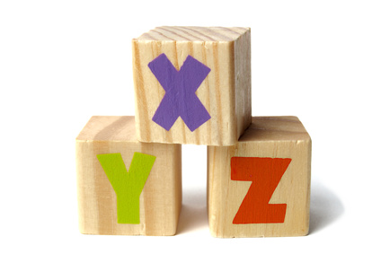 Wooden blocks with XYZ letters